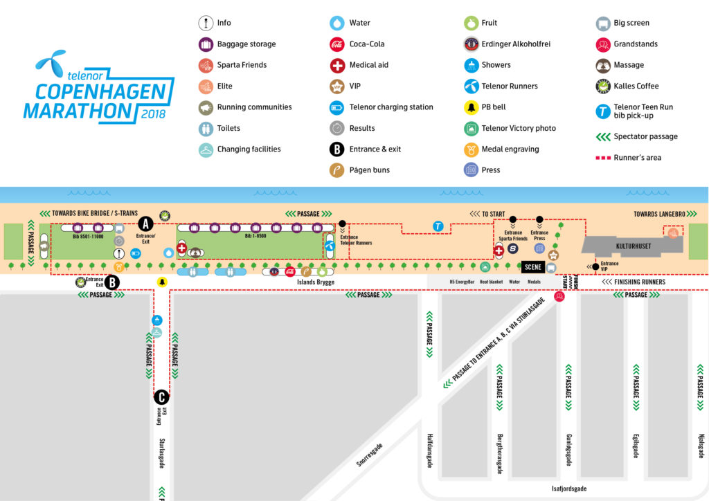 Site map start and finish area Telenor Copenhagen Marathon 2018